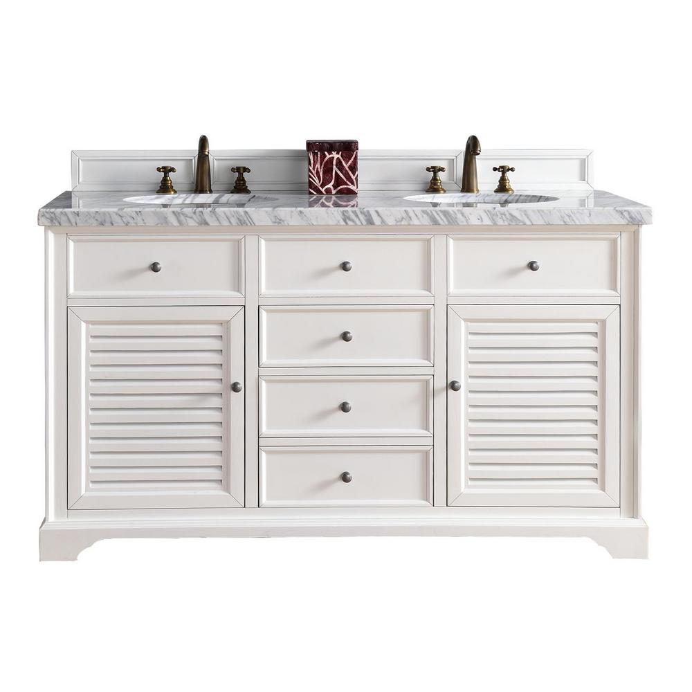 James Martin Signature Vanities Brookfield 60 In W Double Vanity In Urban Gray With Marble Vanity Top In Carrara White With White Basin 14711456914car The Ho White Double Vanity Marble Vanity