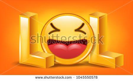 Lol Sign Vector Fun Symbol Emotion Smile Facial Expression