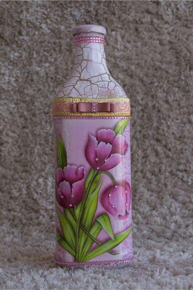 Garrafa Artesanal Decorativa Com Imagens Garrafas Pintadas