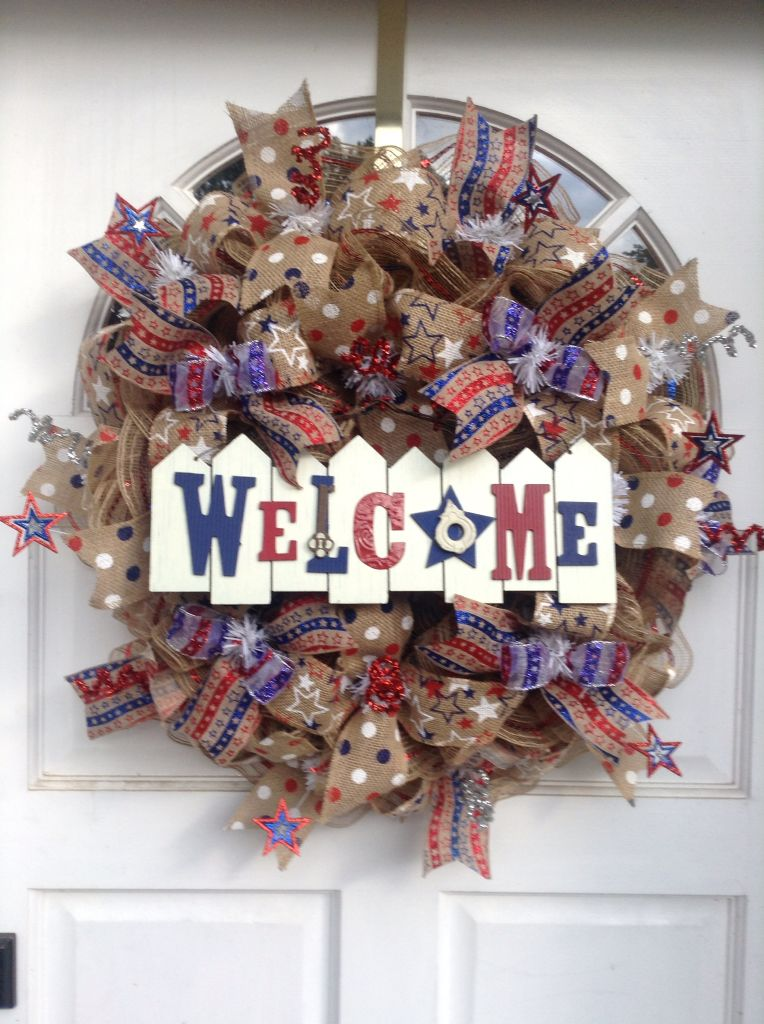 Patriotic wreath I just finished.
