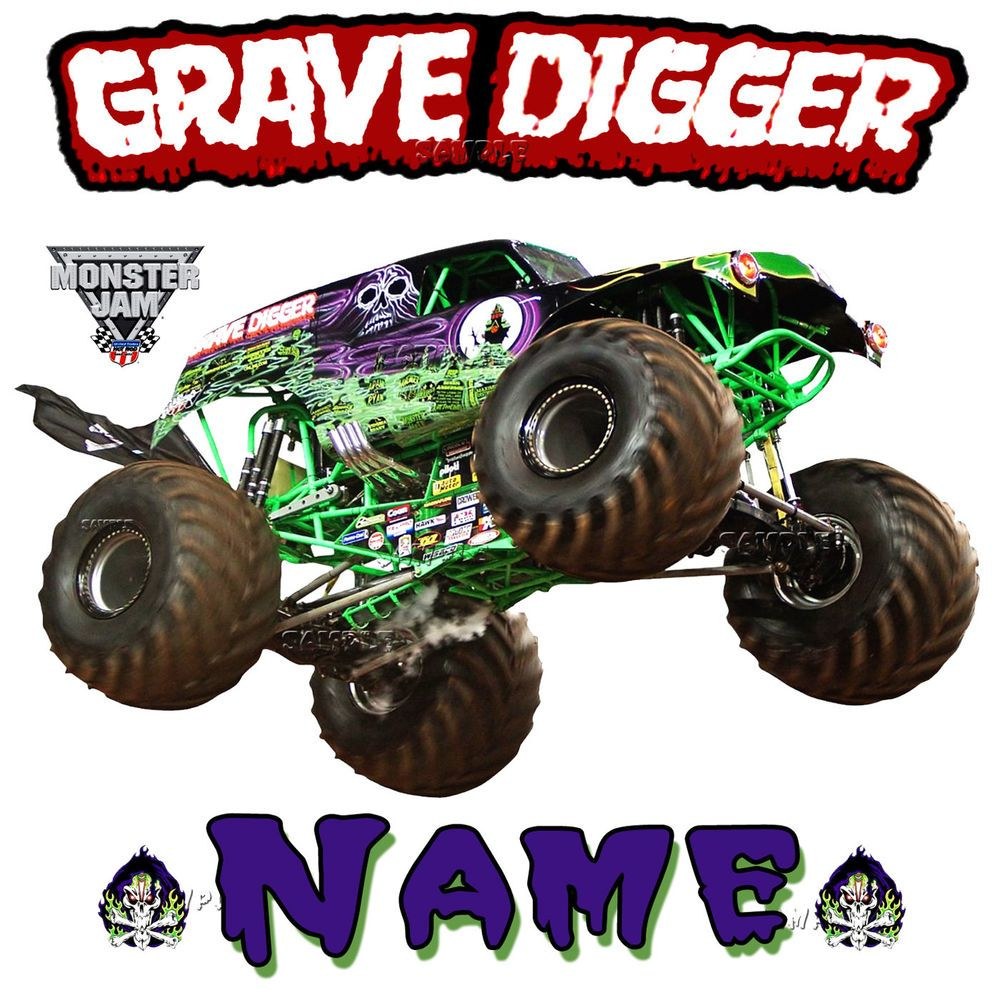 New Grave Digger Monster Truck Jam Show Personalized T Shirt Birthday Present Clothing Shoes Monster Trucks Monster Truck Jam Monster Trucks Birthday Party