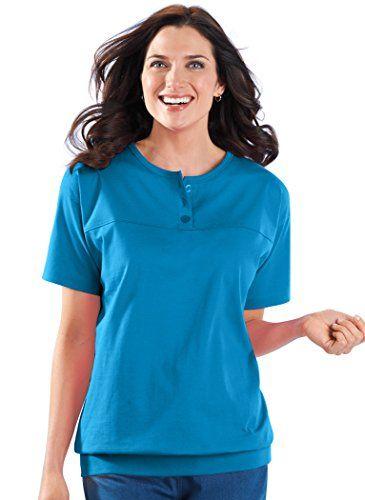 d9f516b89d80bf Banded-Bottom Henley AmeriMark   amazon   Henley top, Henley shirts ...