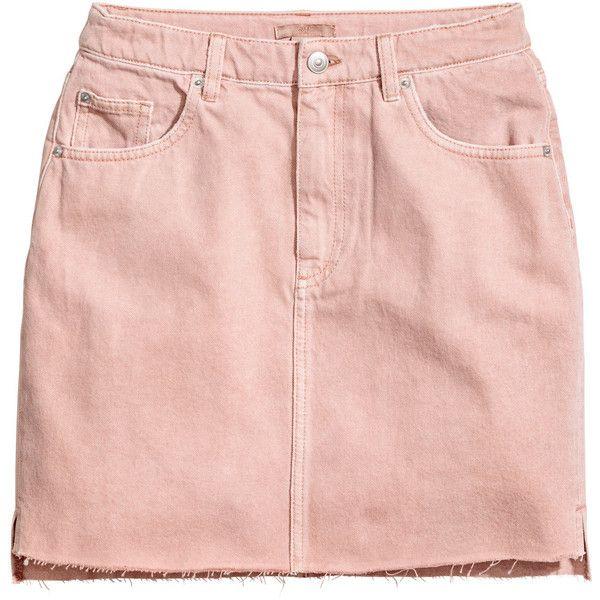 Denim Skirt $34.99 (3825 DZD) via Polyvore featuring skirts, h&m, short denim skirts, short pink skirt, zipper skirt, zipper slit skirt and short skirts