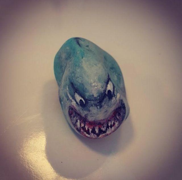 Shark Köpek Balığı Tas Boyama Taş Boyama çalışmalarım