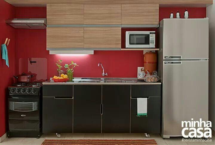 Cozinha_ vermelha e preta _ pequena casas Pinterest Modelos de - modelos de cocinas