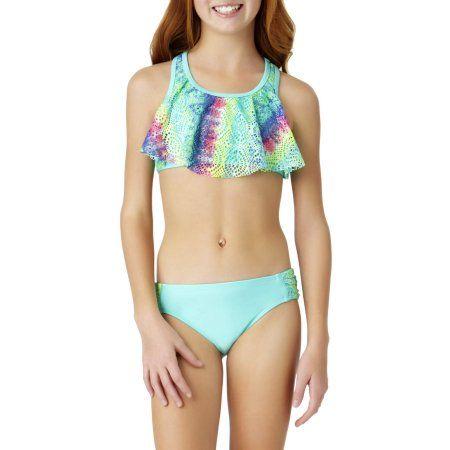 2cba23bd5d0527 Wonder Nation Girls' Remix Tie Dye Fashion Bikini, Size: 6/6X, Green