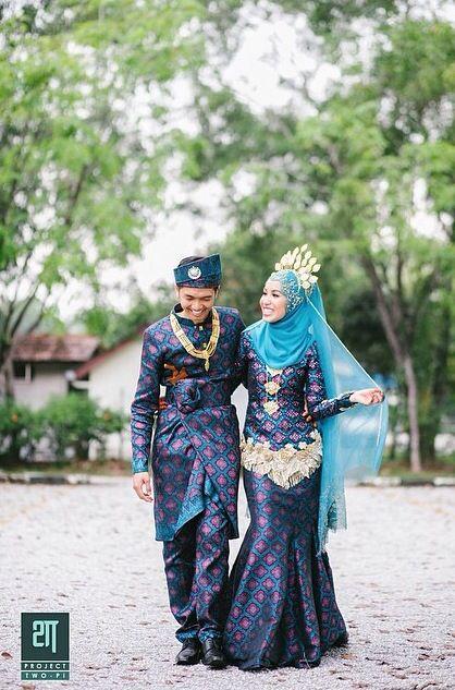 Songket Biru Gold Songket Simple Wedding Veil Traditional