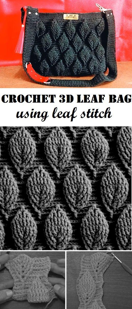 Crochet 3d Bag Tutorial Using Leaf Stitch Crochet Shell Stitch Crochet Patterns Knitted Bags
