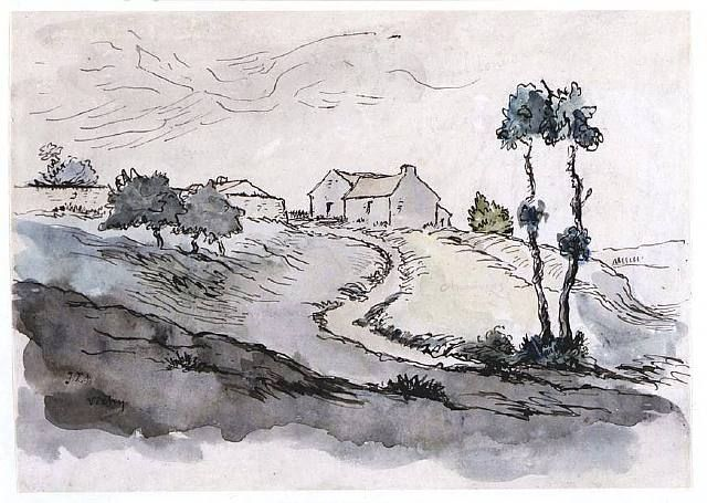 Landscape In Stormy Weather 1885 By Vincent Van Gogh Realism Sketch And Study Van Gogh Museum Am Boceto De Paisaje Paisajes Dibujos Ilustracion De Paisaje