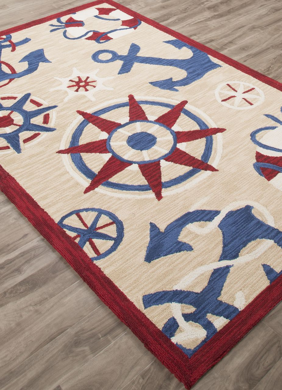 With Its Deep Red Border This Nautical Jaunty Rug Filled With