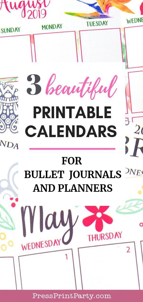 3 Beautiful Printable Calendars 2019 for Bullet Journals - Press