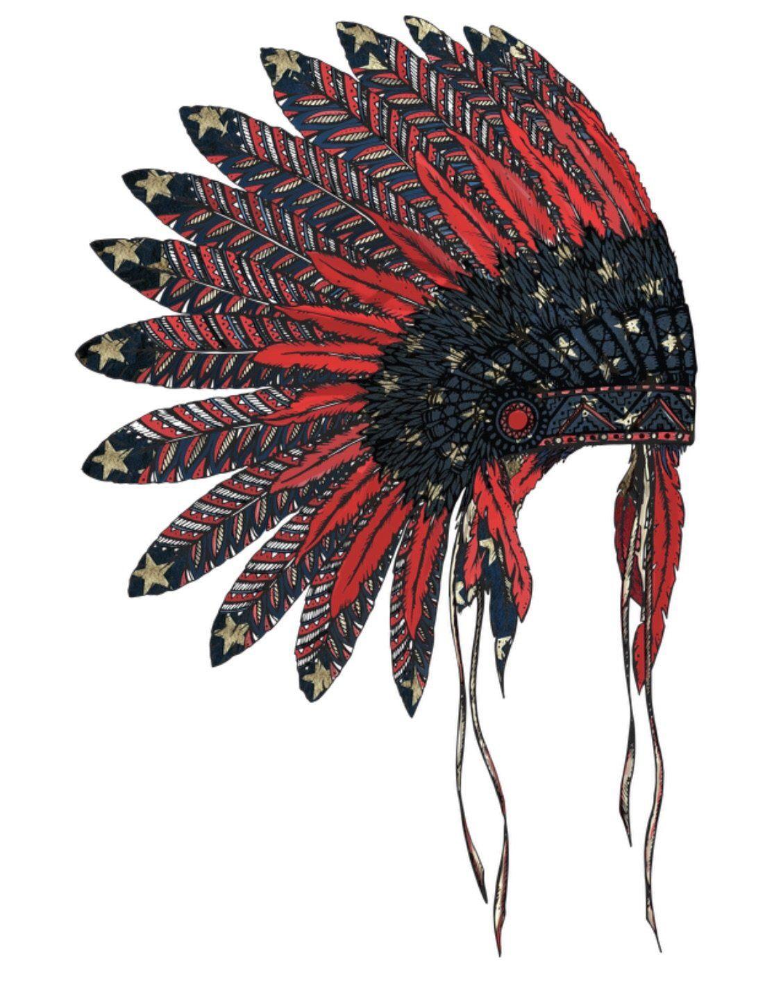 American Flag Indian Headdress Dye Sub Heat Transfer Sheet Indian Headdress Native Tattoos Headdress Tattoo