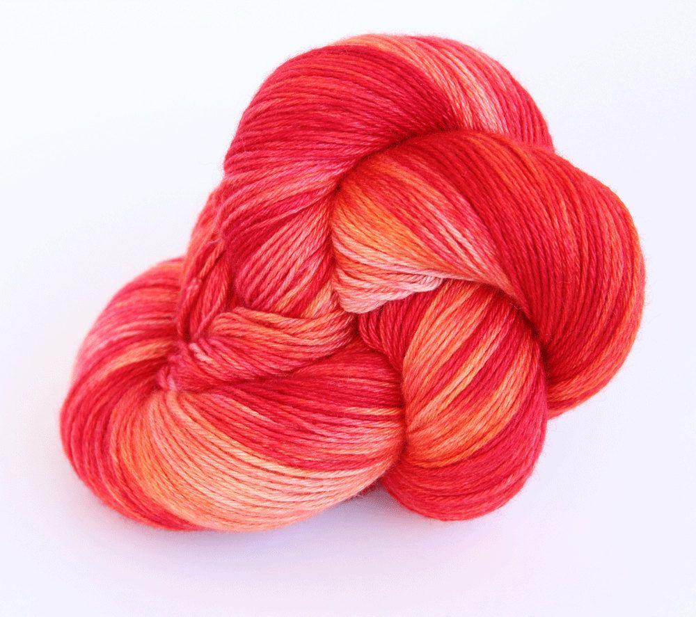 Hand Dyed Sock Yarn - Oakhampton 50/50 Merino Silk Sock Yarn - Blood Orange in Pinks, Corals & Orange by ClementineAndThread on Etsy