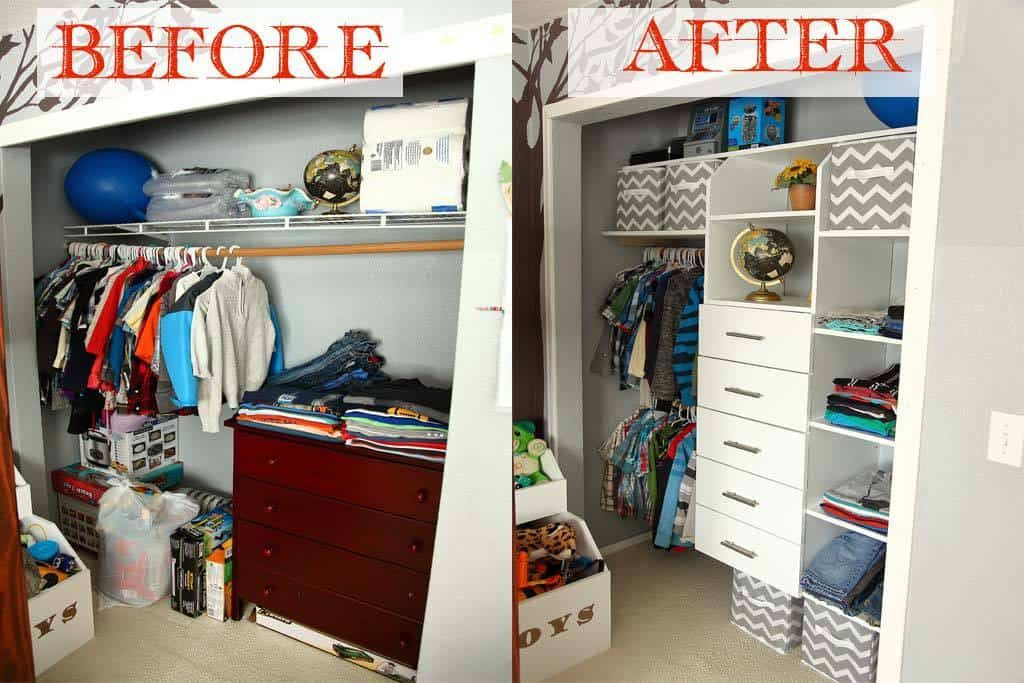 DIY Closet Organizer with Drawers and Shelves TheDIYPlan
