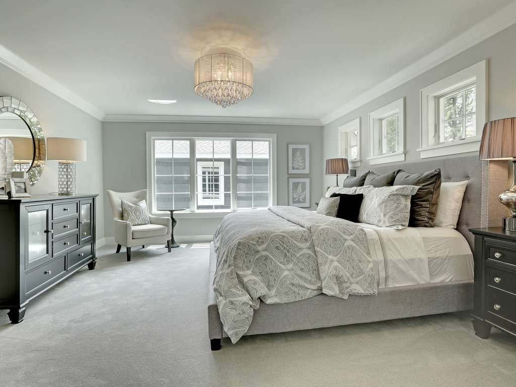 Traditional Master Bedroom with Carpet, INSPIRE Q Kingsbury Grey Linen  Tufted Upholstered Platform Bed, Crown molding