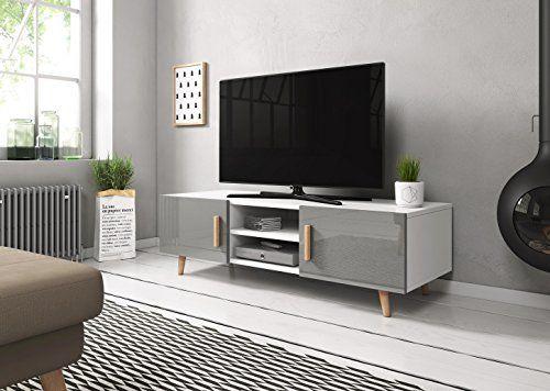 Sweden 2 Meuble Tv Style Scandinave Blanc Mat Avec Gris B Https