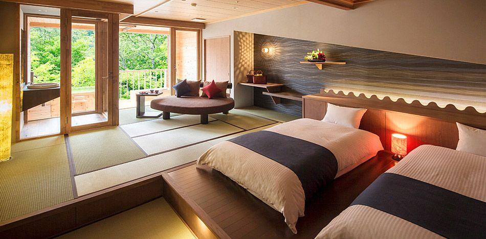 青森 温泉宿 星野リゾート 奥入瀬渓流ホテル 公式 和風の家の設計 和のインテリア 和室 モダン 寝室