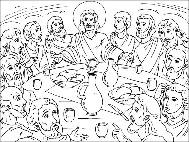 La Ultima Cena Para Colorear La Ultima Cena Dibujos Y