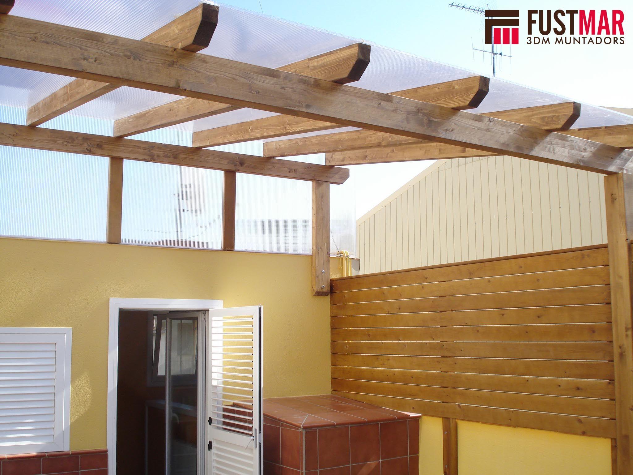 Pergolas de madera de abeto laminado con techo de - Techos para pergolas de madera ...