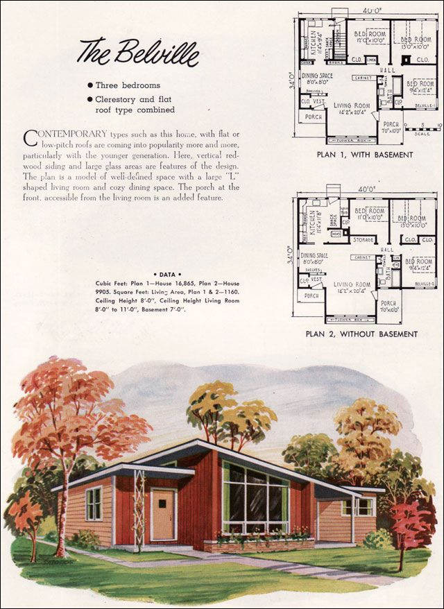 Mid Century Modern   Small House Architecture   1952 National Plan Service    Belville