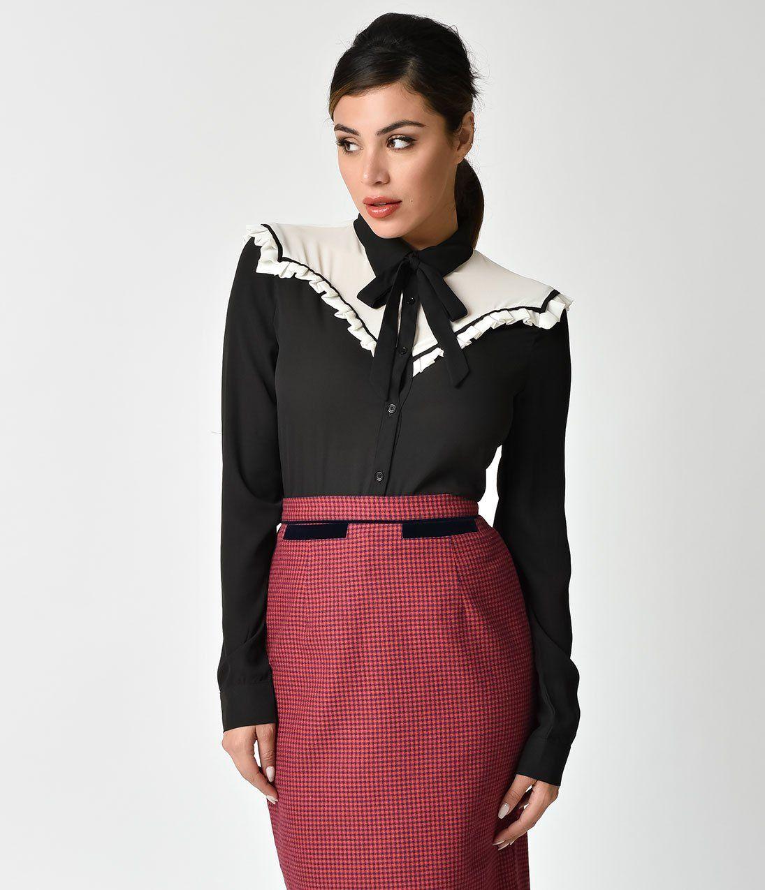 d48b0d3ac336 Black   White Button Up Tie Chiffon Blouse – Unique Vintage ...