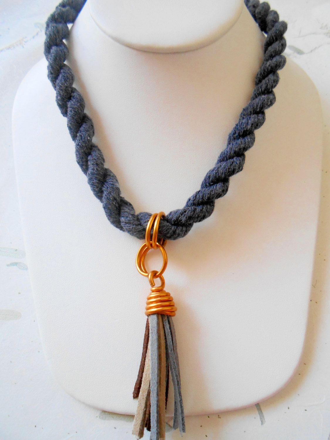 Necklace With Cotton Navy Blue Rope Aluminum Wire by ARTENUEVO ...