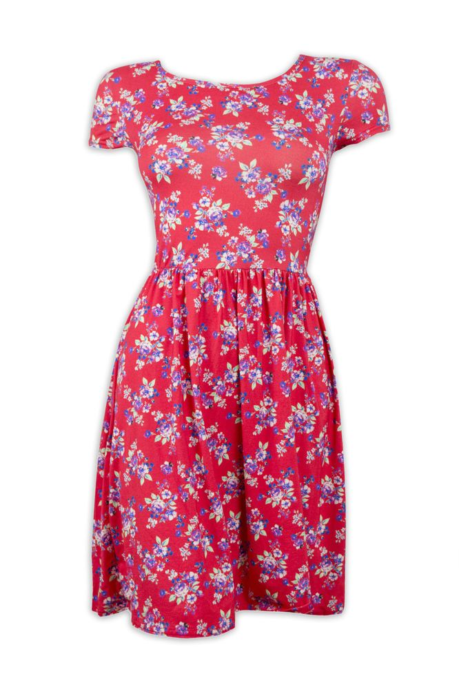 7b6a5e7d815 Womens Ex New Look Dresses Ladies Red Floral Summer Skater Dress Size 14