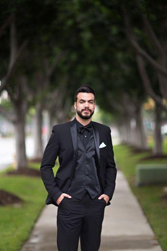 cad3598616c Black Monterey tuxedo, notch lapel tuxedo, black shirt with black tuxedo,  white pocketsquare, classic, classic black and white, Slim fit tuxedo, ...