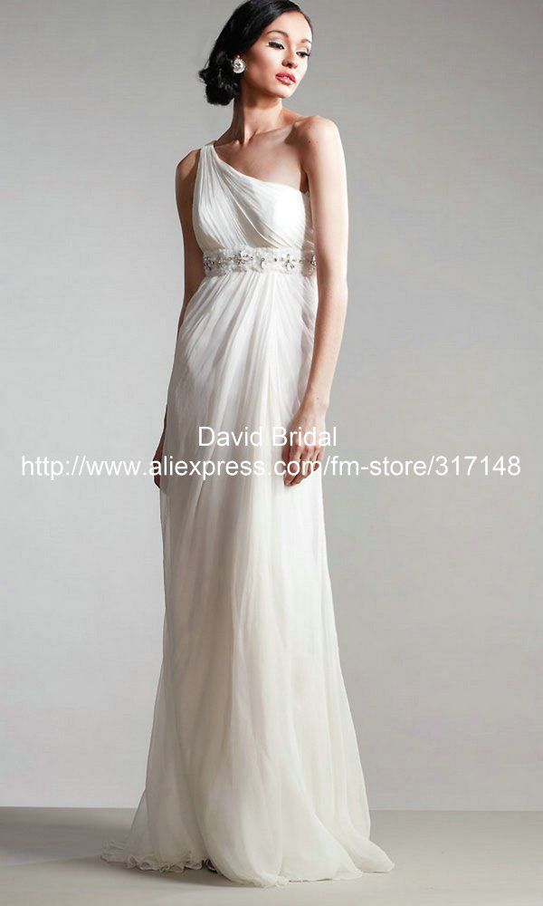 Grecian Style Straight One Shoulder Beaded Chiffon Long White Dress ...