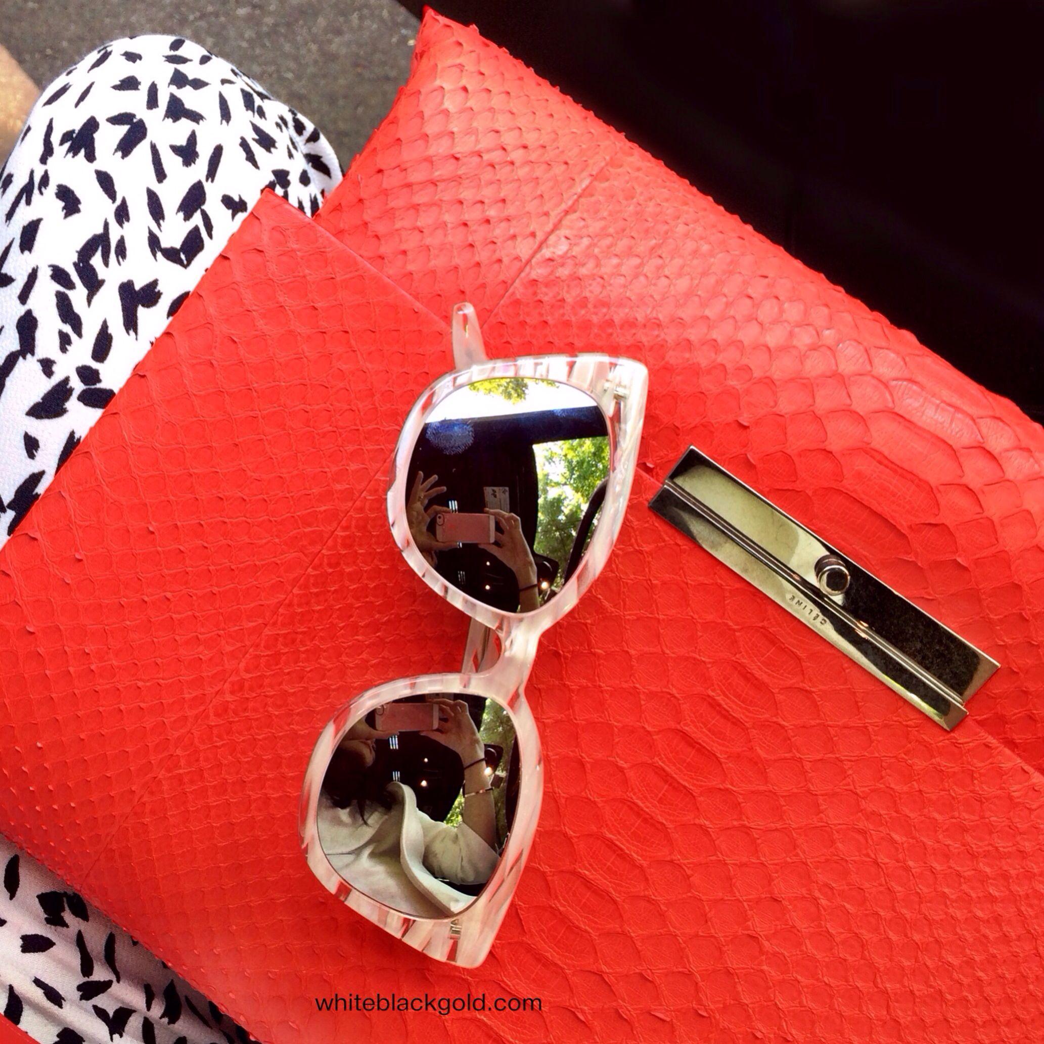 I\'m wearing Celine python blade bag and Barton Perreira sunglasses ...