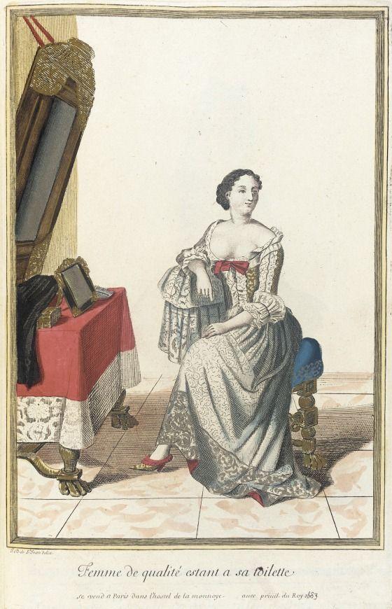 Recueil des modes de la cour de France, 'Femme de Qualité Estant a sa Toilette'  Jean Dieu de Saint-Jean (France, flourished 1675-1695)  France, Paris, 1683  Prints  Hand-colored engraving on paper