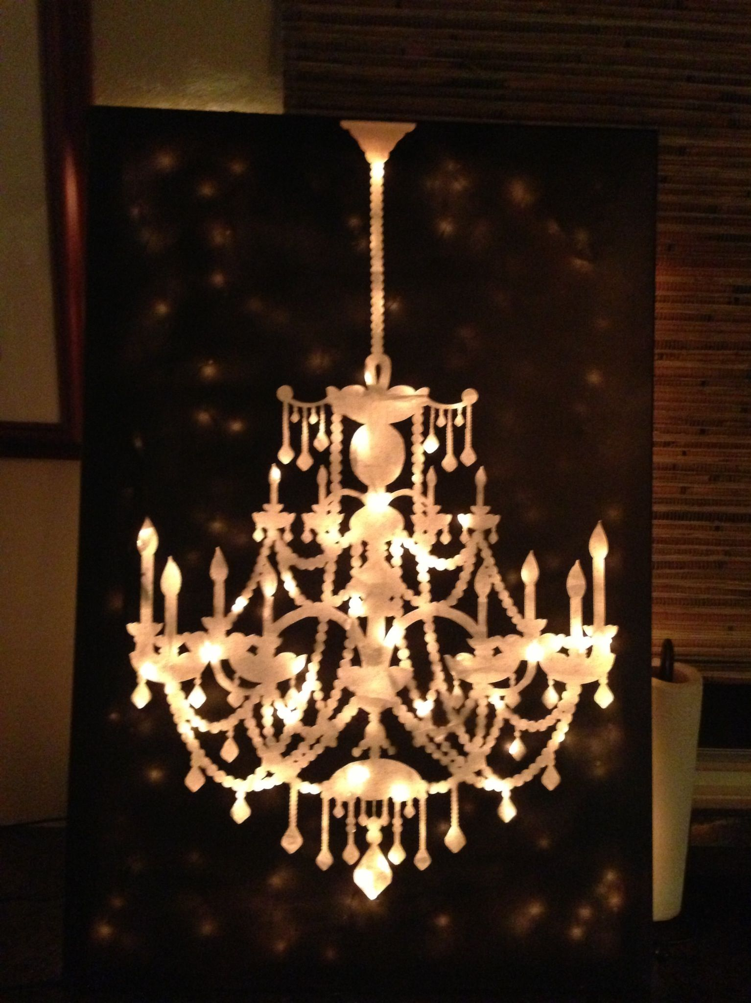 crystal white chandelier art background p wll black stretched on and canvas