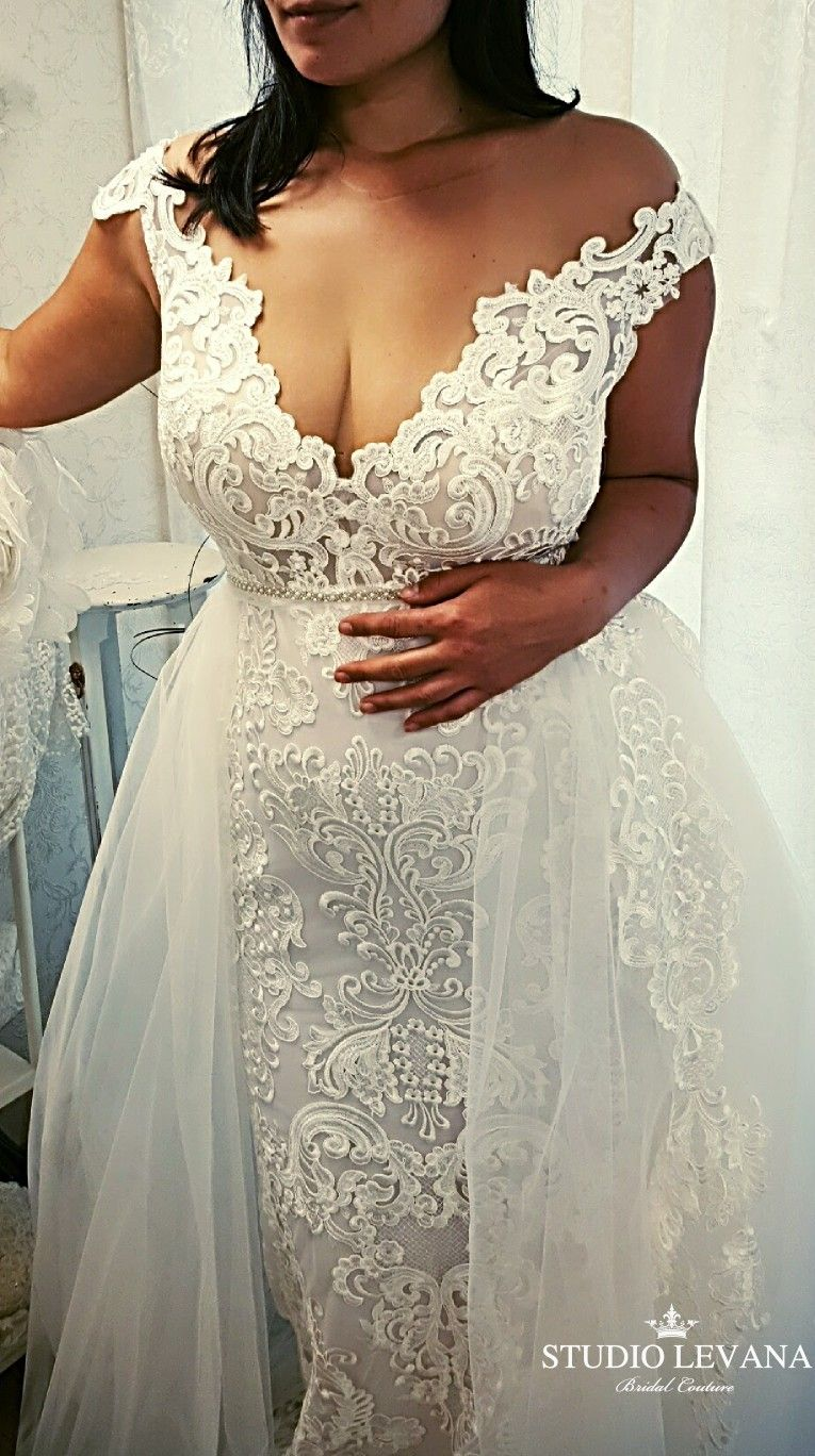 Plus Size Wedding Gown With Stunning Lace And Tulle Overskirt Adel Studio Levan Wedding Dresses Lace Wedding Dresses Plus Size Maggie Sottero Wedding Dresses