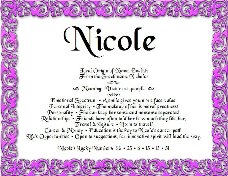 Nicole nicole pinterest enfp and spiritual meaning of names yadclub Images