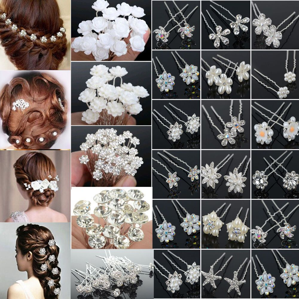 cool 20/40pcs wholesale wedding bridal flower crystal hair