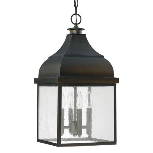 Westridge Old Bronze Four Light Outdoor Hanging Lantern With Antique Glass  Capital