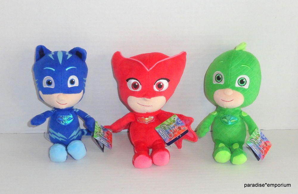 Charming New PJ Masks Plush Doll Set Lot Gekko Catboy Owlette #toys #stuffedanimals