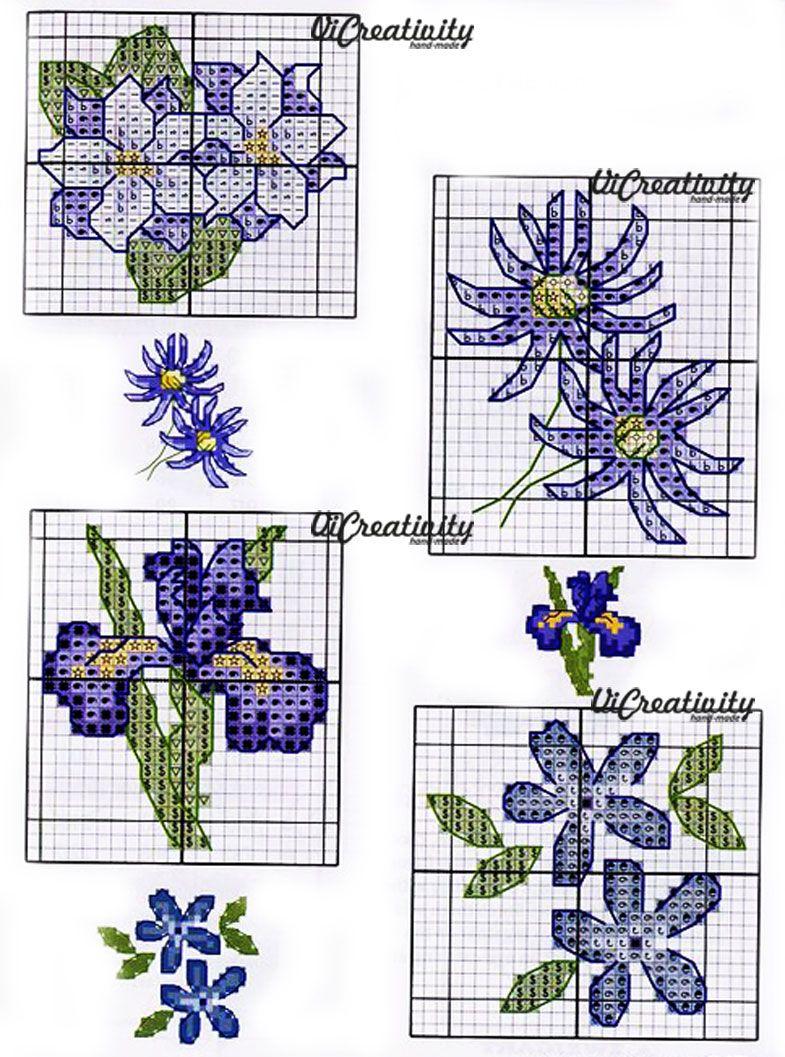 Маленькие схемы вышивки цветов крестиком
