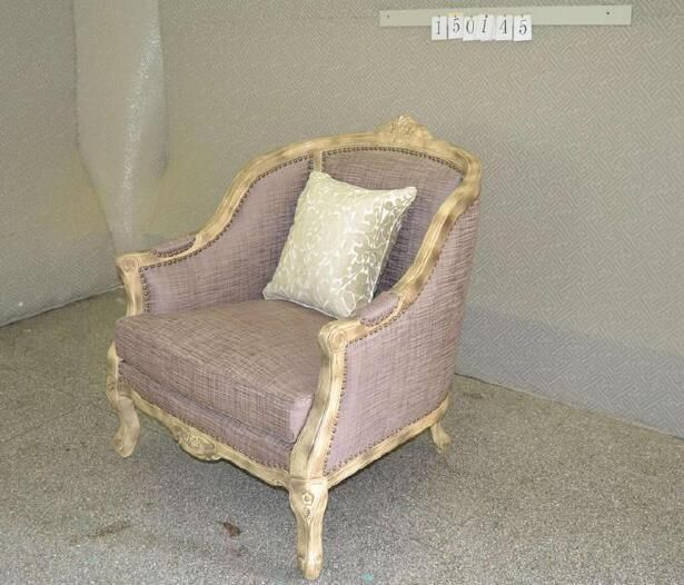 Custom made armchair with yellow antique finish.