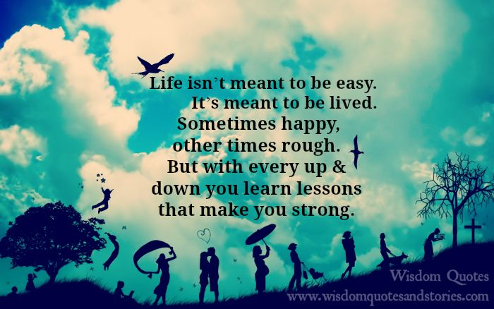 life isn't meant to be easy , it's meant to be lived