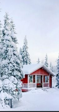 Red house in the snow.