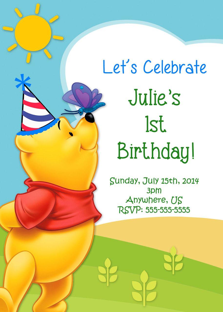 winnie the pooh birthday invitations | birthdays, birthday candy, Birthday invitations
