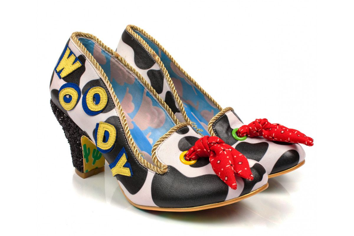 1e1daca9a85 Irregular Choice Toy Story Reach For The Sky Black White Cow Print Woody  Glitter Mid Heel Shoes