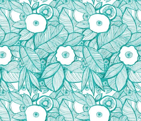 Eyes of the jungles-turquoise fabric by chulabird on Spoonflower - custom fabric