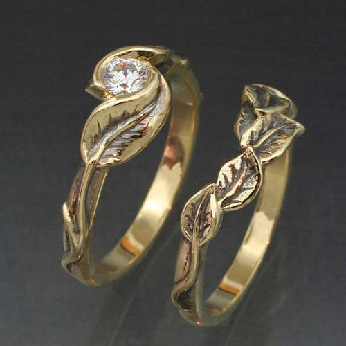 gold delicate leaf wedding ring set engagement ring and matching wedding band this ring set with natural diamond jewelry diamond pinterest matching - Leaf Wedding Ring