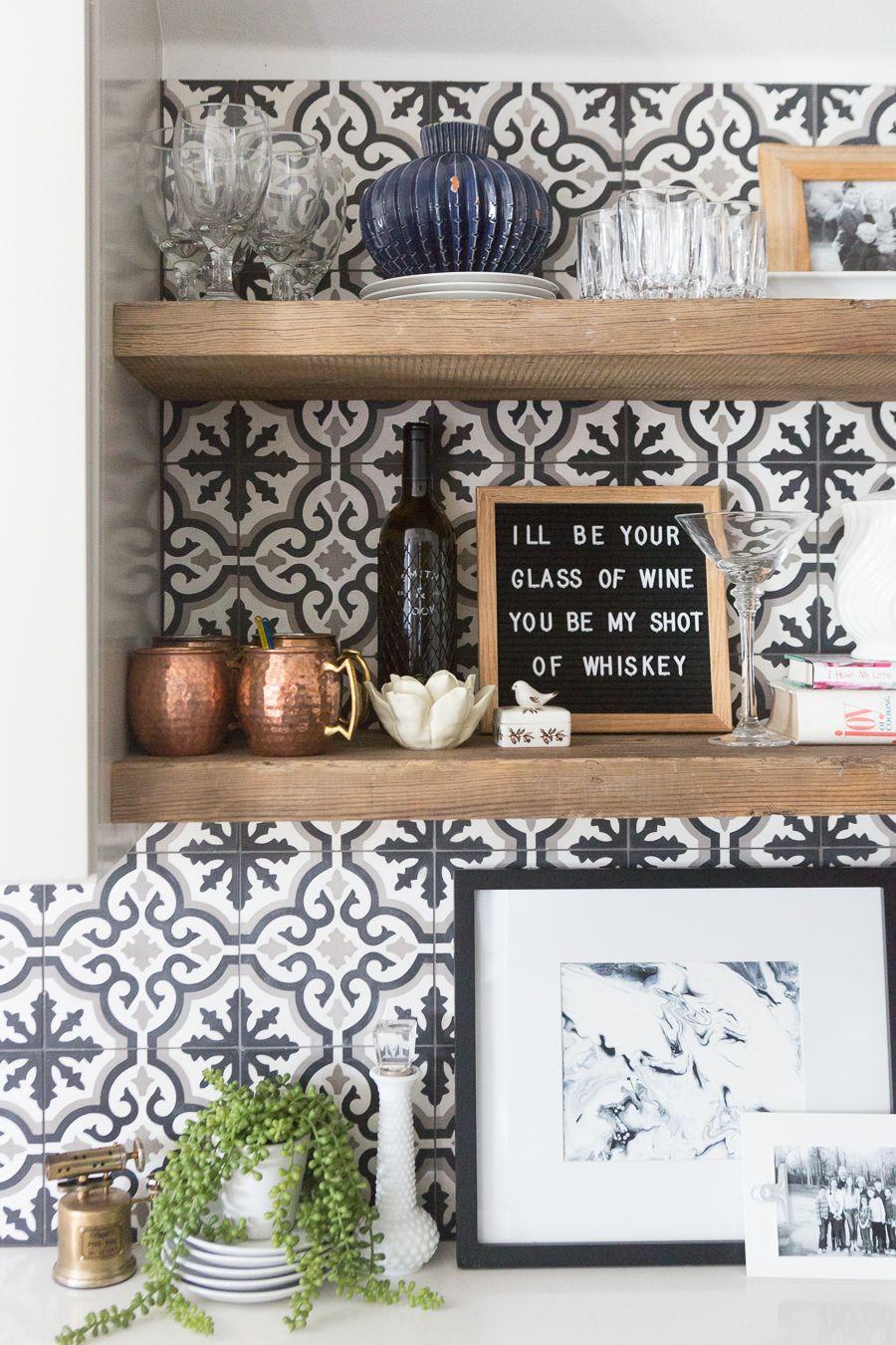 Affordable Ceramic Patterned Tile Backsplash And Flooring Cc And Mike Patterned Tile Backsplash Tile Backsplash Wood Backsplash