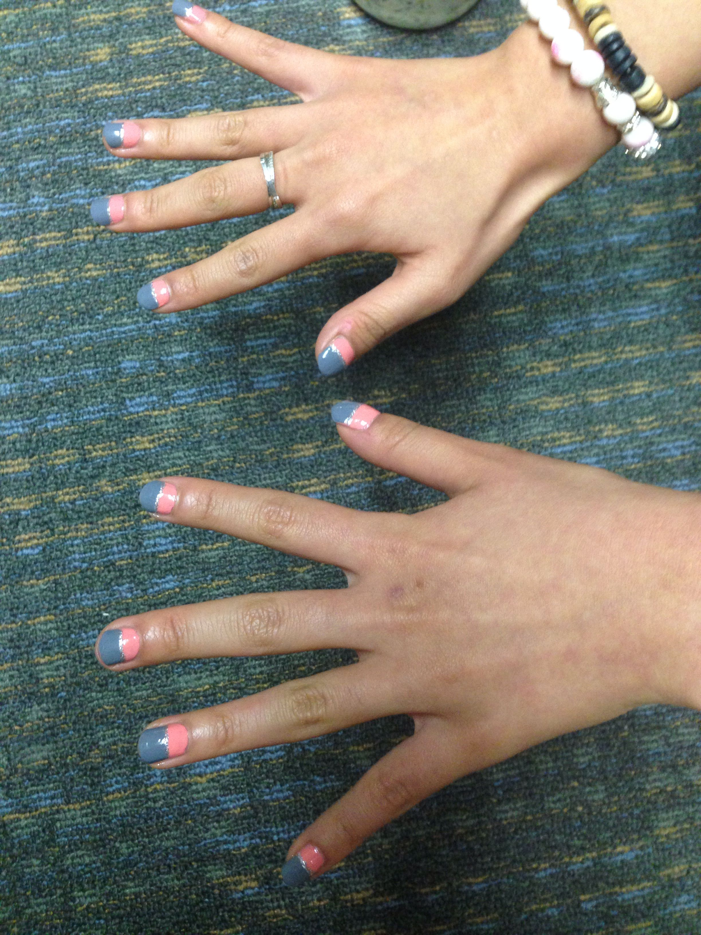 Pink back ground and gray deep french nails. Nail art for short ...