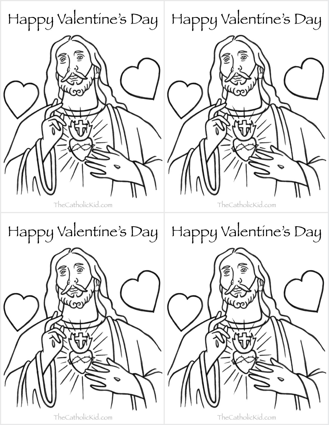 Catholic Valentines Day Cards Jesus Heart Coloring Page