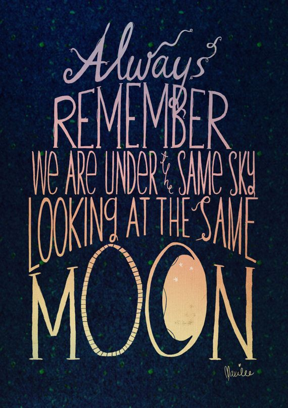 Looking At The Same Moon HandDrawn Lettering Print A4 by angeluci, £7.50