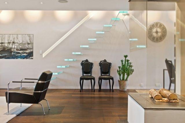 glas Kragarmtreppe moderne designtreppen typen Loft Wohnung   Treppe ...